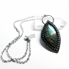 Electroformed Spiked Labradorite Northern Lights Necklace #2