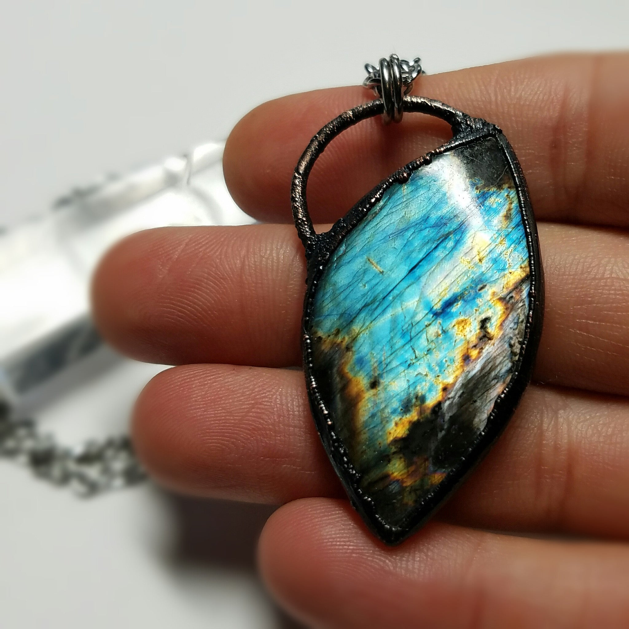 Electroformed Labradorite Cabochon Copper Necklace