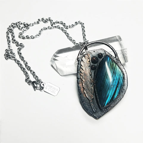 Electroformed Labradorite Feather Necklace