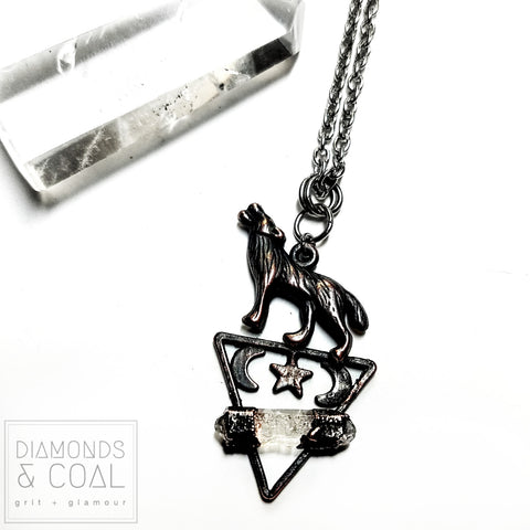 "Electroformed ""Howl at the Moon"" Triangle Quartz Wolf Trinket Necklace"