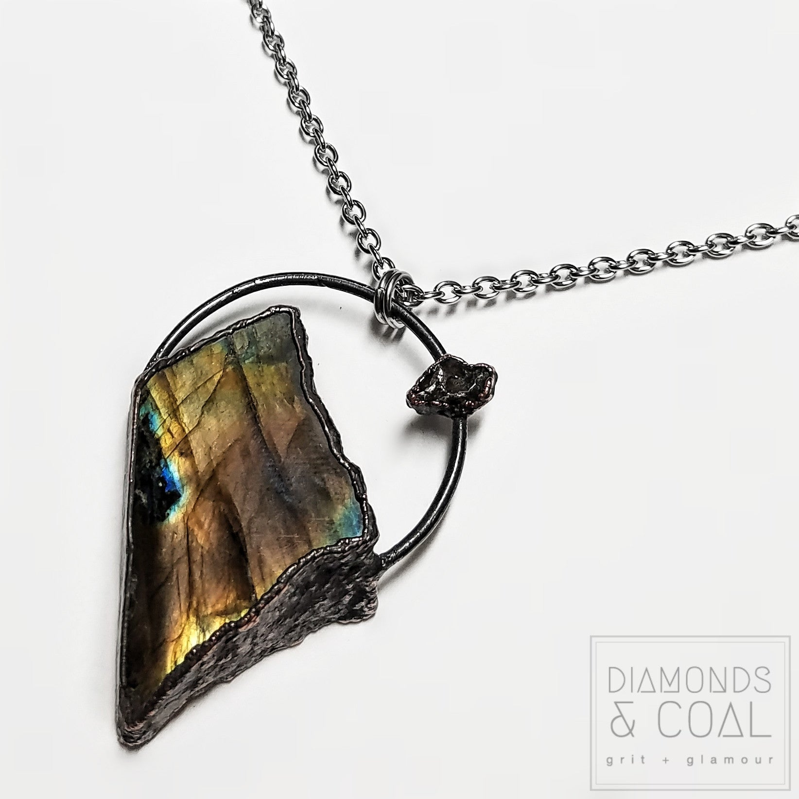 Electroformed Freeform Labradorite and Meteorite Necklace