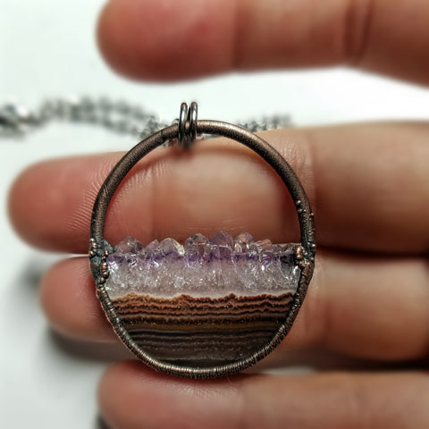 Electroformed Uruguay Amethyst Druzy Semi Circle Copper Necklace