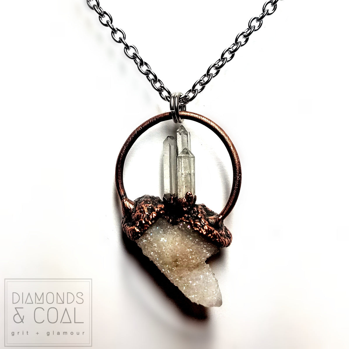 Electroformed Angel Aura Spirit Quartz and Quartz Point Hoop Necklace