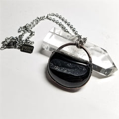 Electroformed Black Druzy Semi Circle Necklace