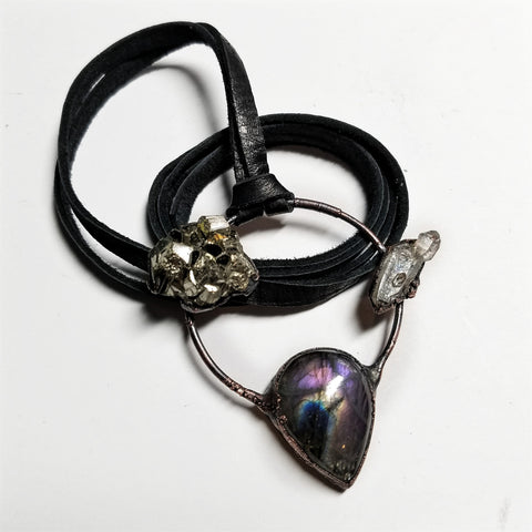 Electroformed Labradorite, Pyrite, Quartz Hoop Necklace