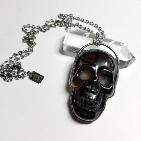 Electroformed Smoky Quartz Large Carved Skull Necklace