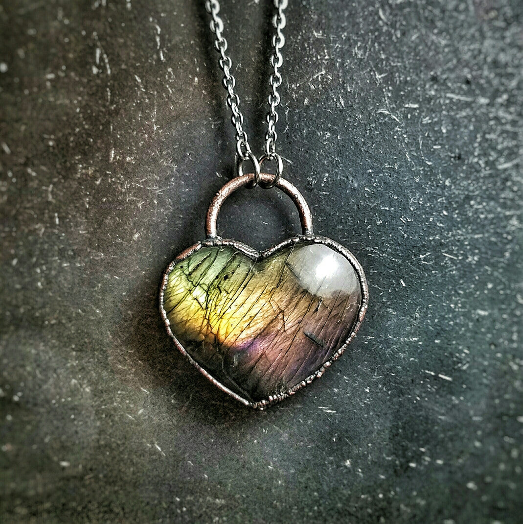 Electroformed Spectrolite Heart Necklace