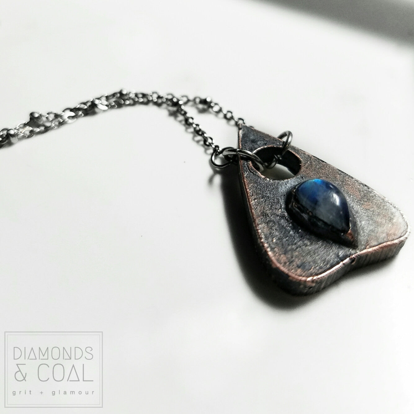 Electroformed Rainbow Moonstone Planchette Necklace
