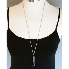 Amethyst Point Silver Bullet Necklace