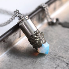 Crushed Pyrite Opalite Bullet Necklace