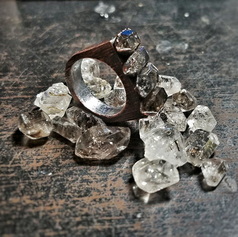 Herkimer Diamond Electroformed Copper Ring