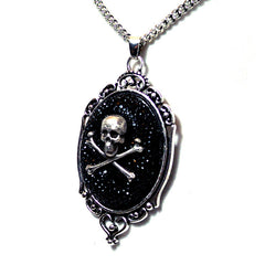 Skull and Crossbones Rhinestone Cameo Necklace