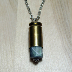 Gemstone Bullet Necklace - Labradorite