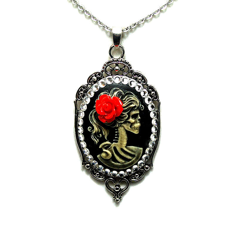 Lolita Skull Girl Cameo Necklace