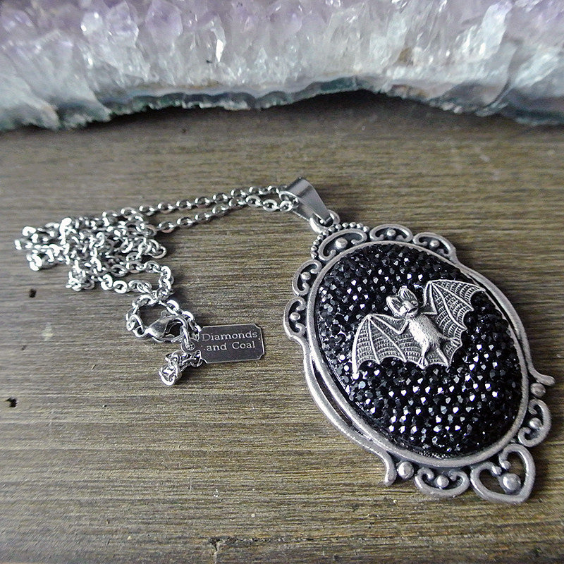 Sparkly Bat Cameo Necklace