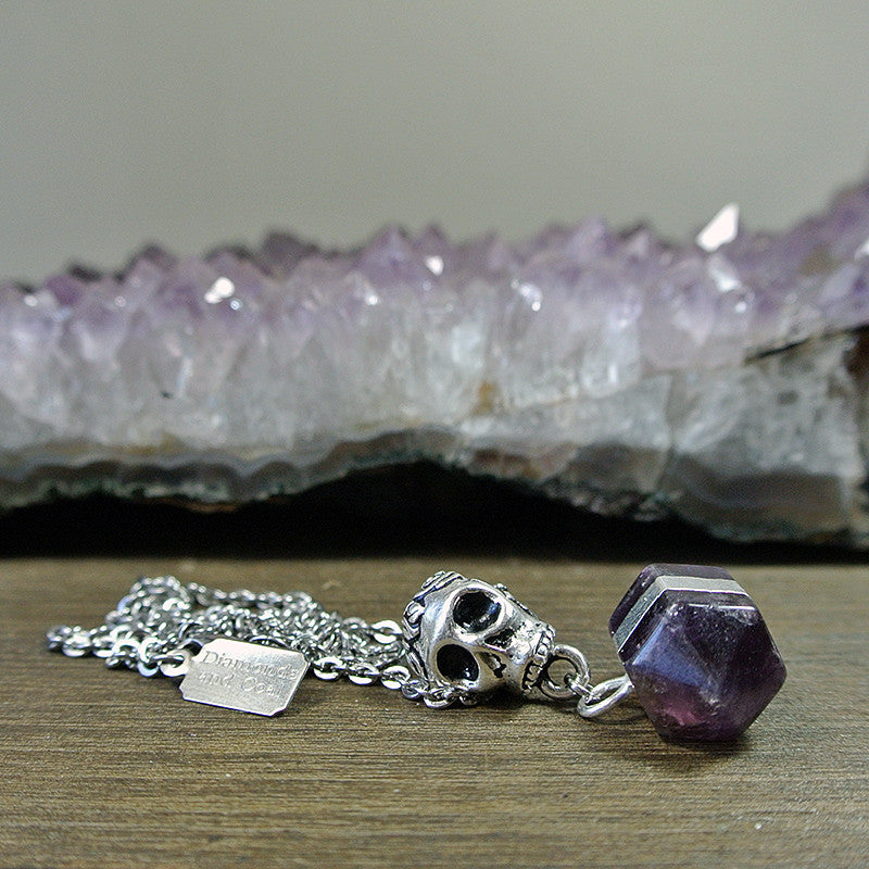 Natural Amethyst Double Terminated Necklace with Skull Bail