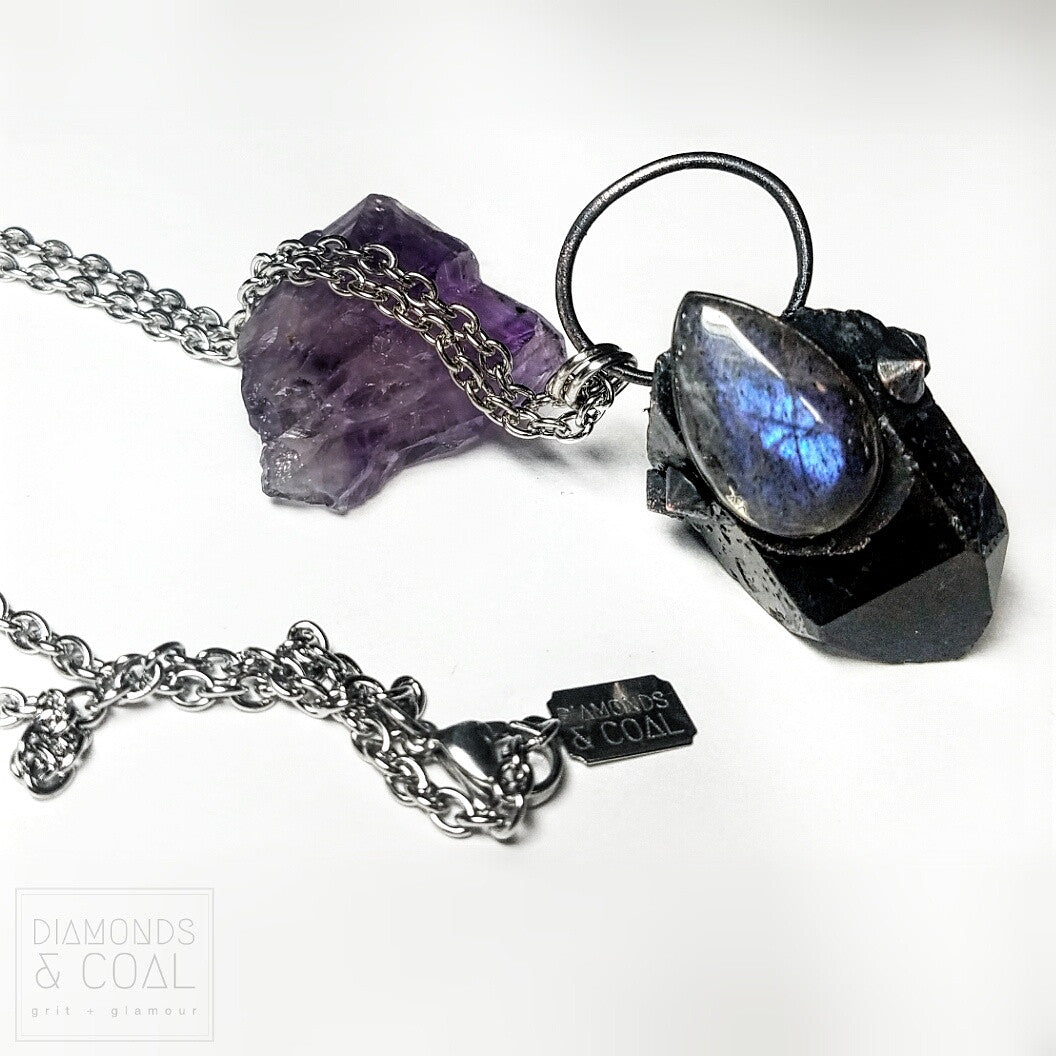 Electroformed Purple Labraorite and Smoky Quartz Point Necklace