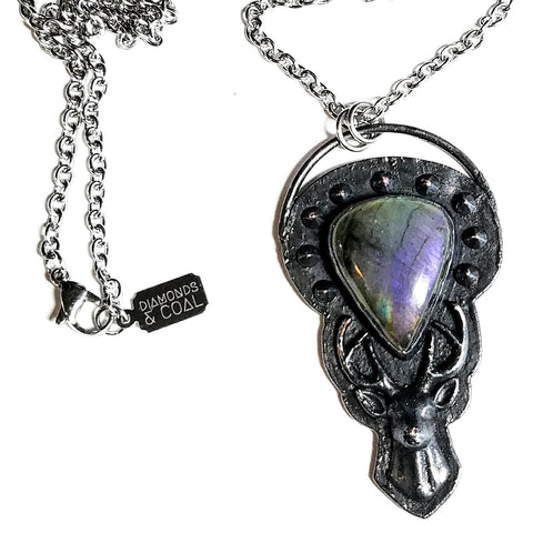 Electroformed Deer Stag Purple Labraorite Necklace