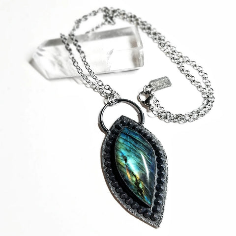 Electroformed Spiked Labradorite Northern Lights Necklace #1