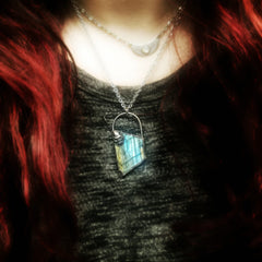 Electroformed Freeform Labradorite Necklace with added Skull