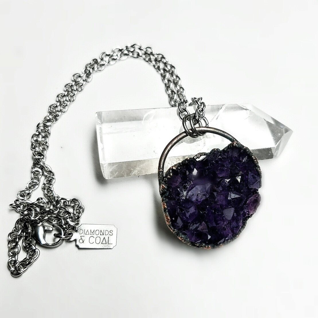 Electroformed Uruguay Amethyst Druzy Copper Necklace