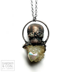 Electroformed Skull and Angel Aura Spirit Quartz Crystal Copper Necklace