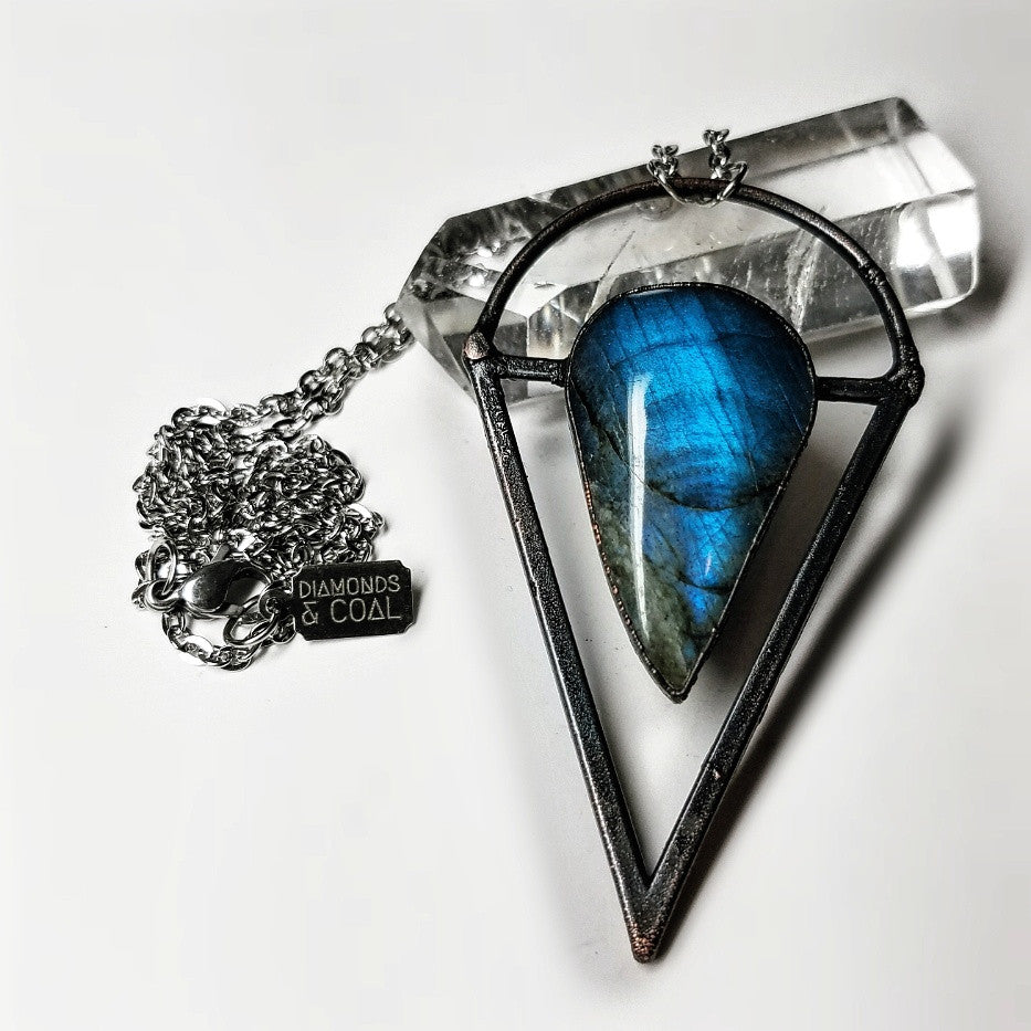 Electroformed Labradorite Triangle Necklace