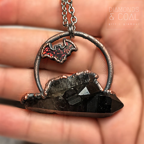 Electroformed Smokey Quartz and Opal Bat Necklace