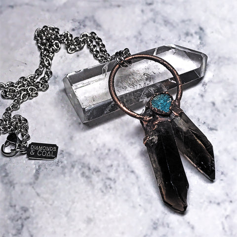 "Electroformed Smokey Quartz and Turquoise Druzy ""Dreamcatcher"" Necklace"