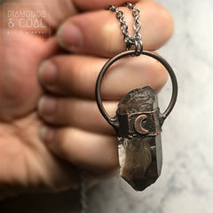 Electroformed Smokey Quartz Point Crescent Moon Necklace