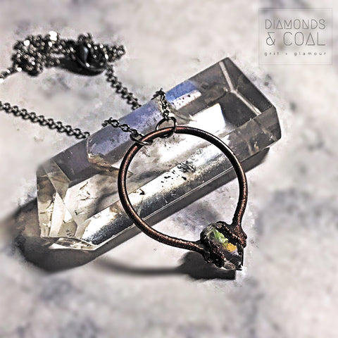 Electroformed Angel Aura Herkimer Diamond Hoop Necklace
