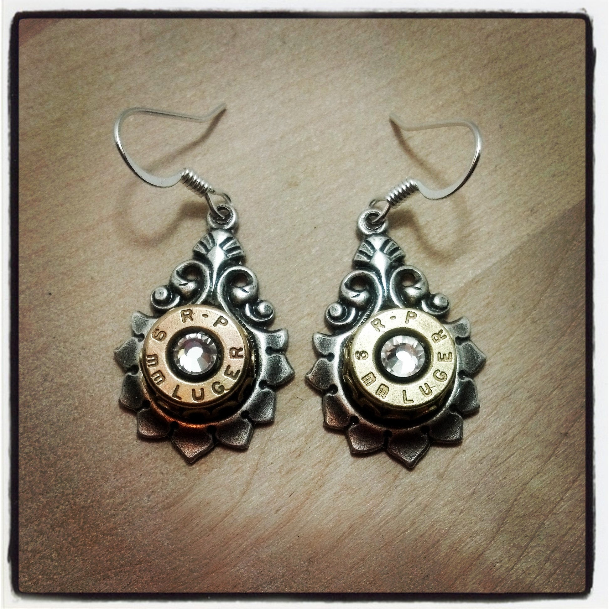 9mm Drop Bullet Earrings