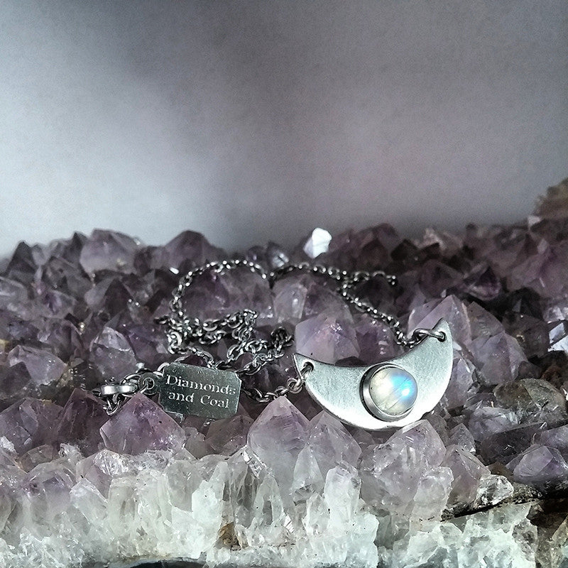 Rainbow Moonstone Crescent Moon Necklace