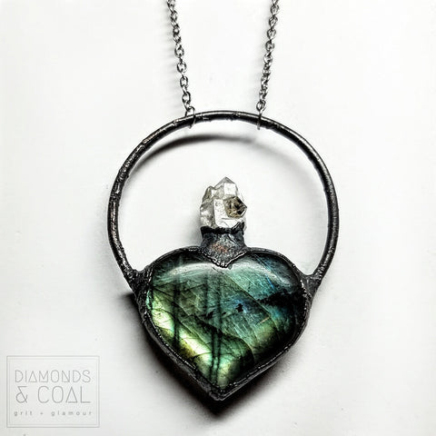 Electroformed Milagro Heart Necklace - Labradorite and Herkimer Diamond