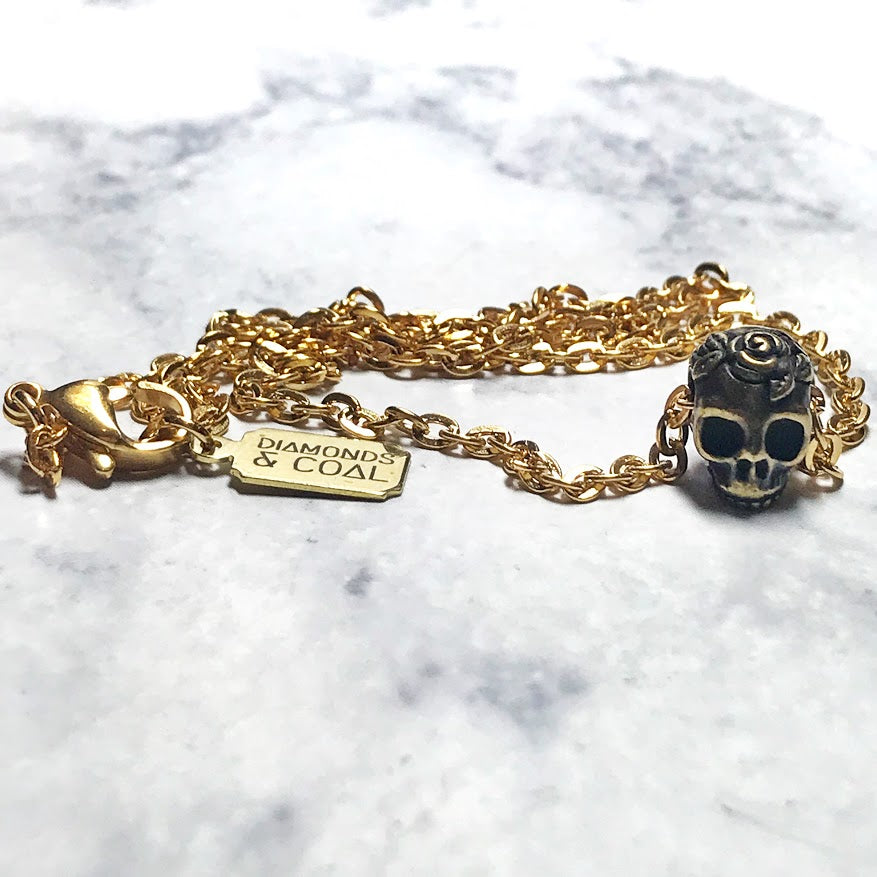 Tiny Day of the Dead Sugar Skull Necklace - Gold