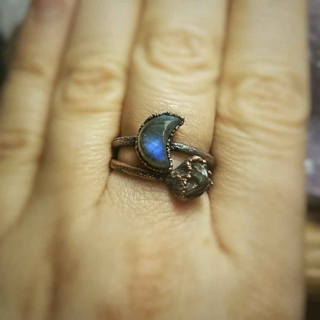 Labradorite Crescent Moon Electroformed Ring