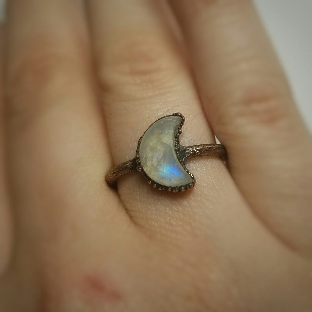 Rainbow Moonstone Crescent Moon Electroformed Ring