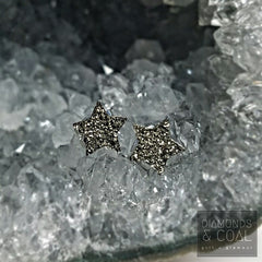 Crushed Pyrite Star Earring Studs