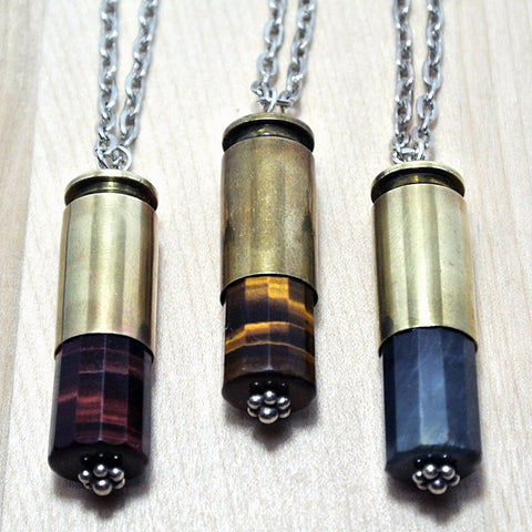 Tigers Eye Bullet Necklace - Stone Bullet Jewelry