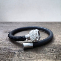 Leather Bracelet with Stainless Steel Pave Crystal Magnetic Clasp