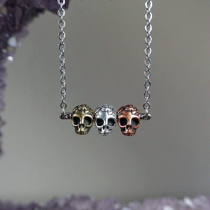 Triple Calavera Sugar Skull Necklace