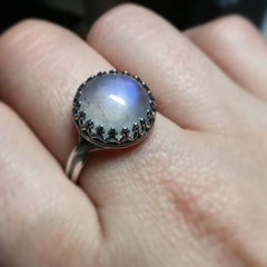 Rainbow Moonstone Sterling Silver Luxe Ring