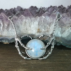 The Avian Embrace Necklace (Rainbow Moonstone)