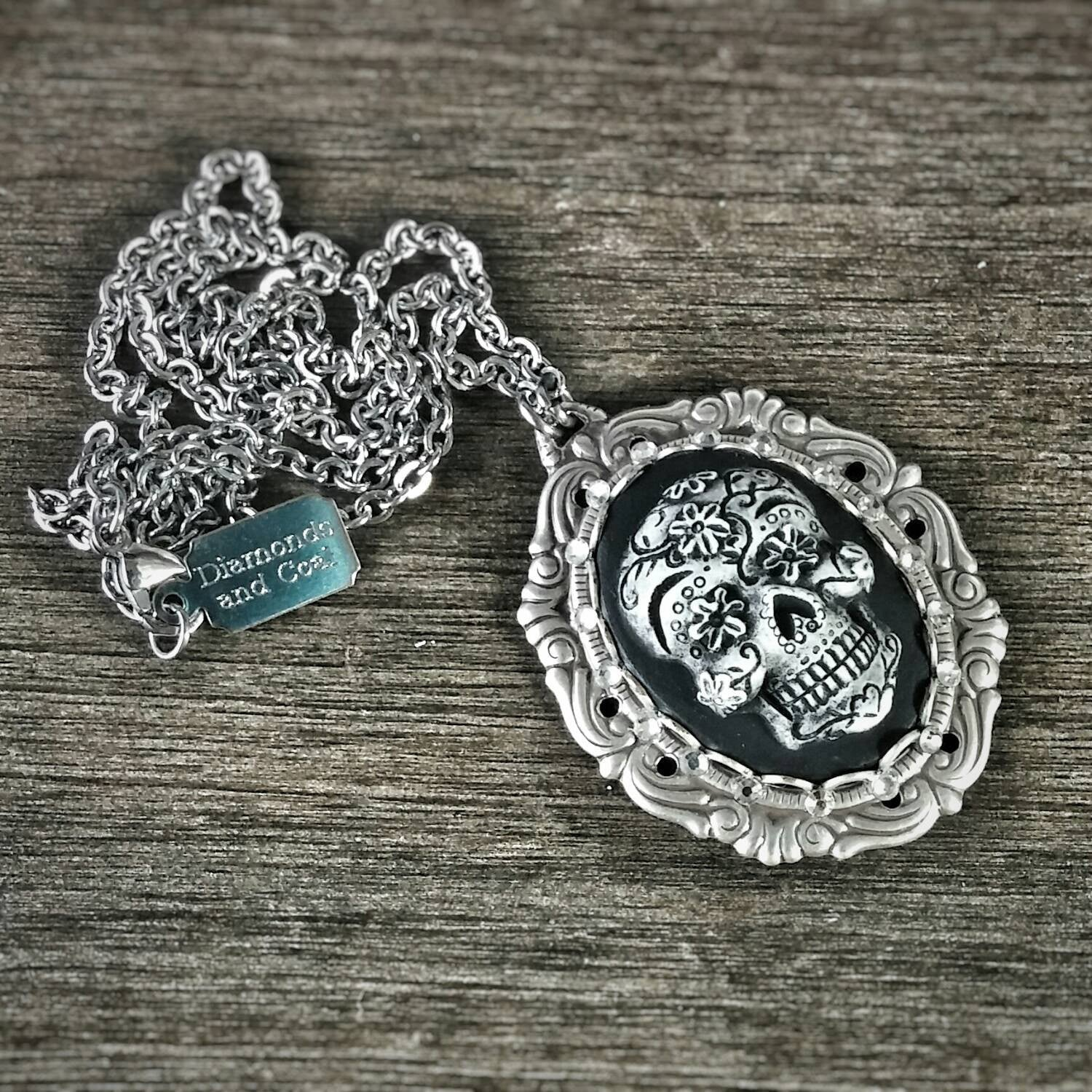 pin the of silver dead handmade necklace pendant new skull day jewelry sugar