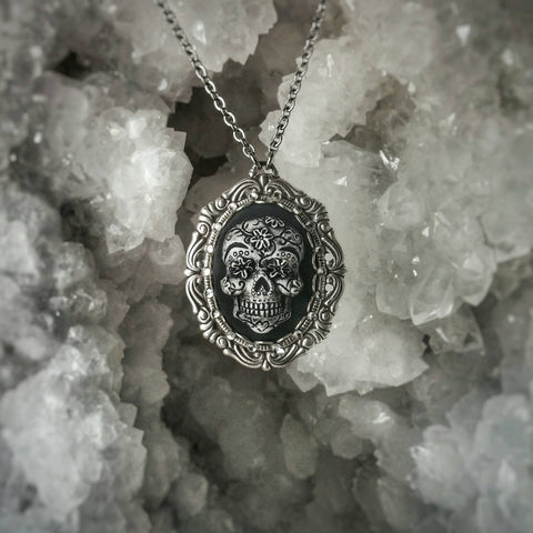 Dia De Los Muertos Sugar Skull Cameo Necklace - Small
