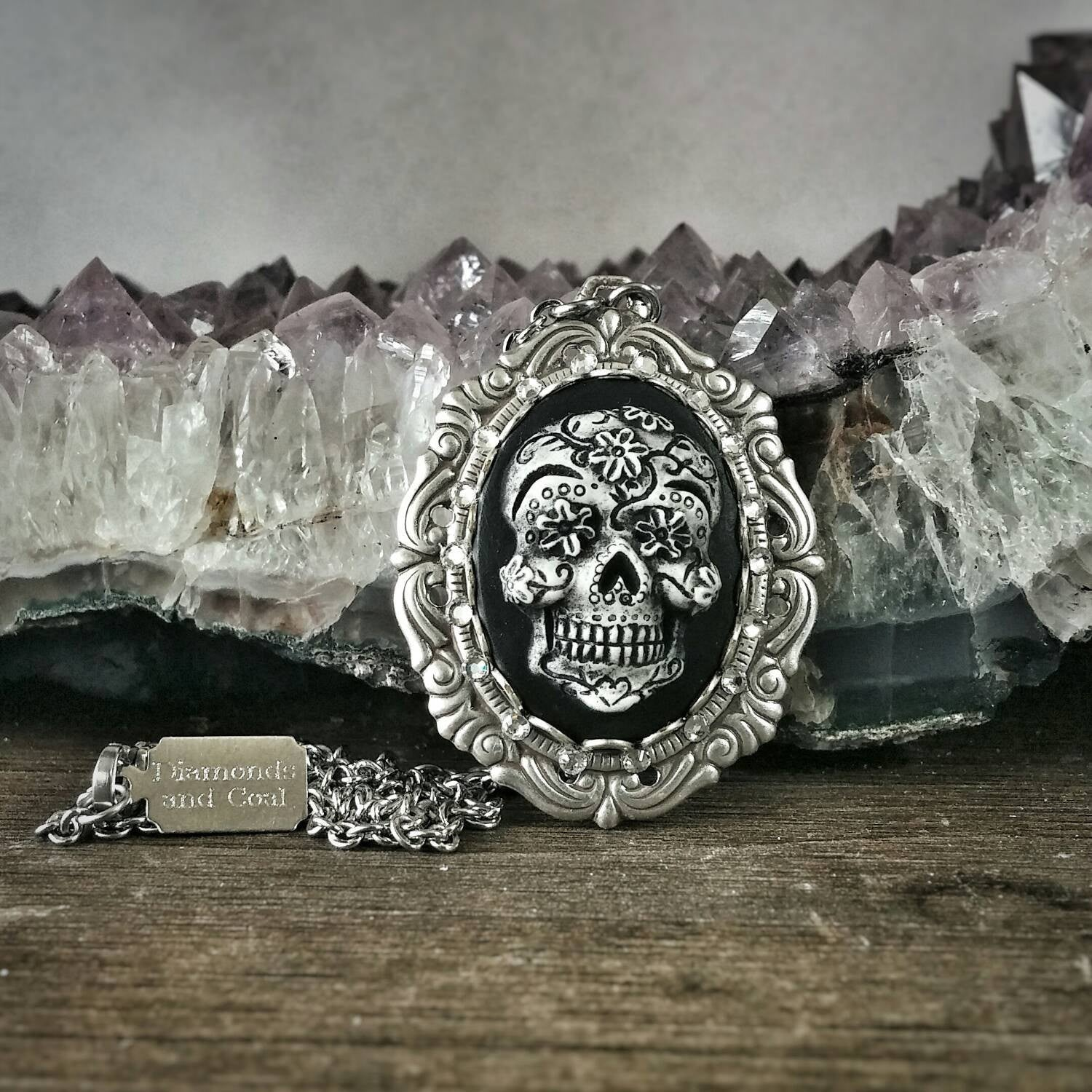 dia fullxfull necklace cameo flower products il diamonds skull sugar and diamond coal de muertos small los