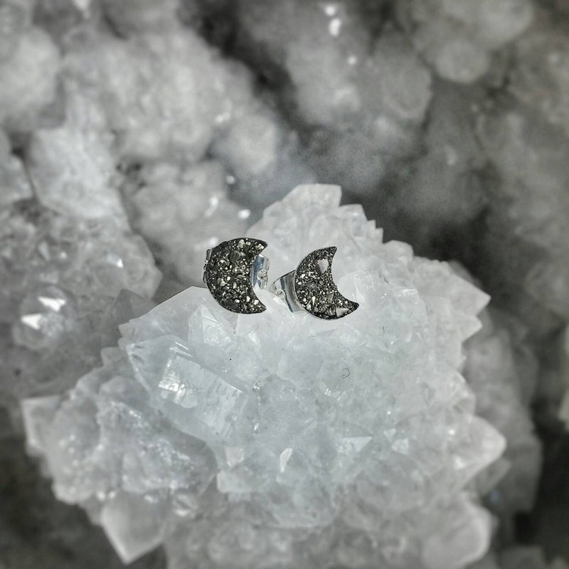 Crushed Pyrite Crescent Moon Earring Studs
