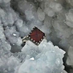 Garnet Sterling Silver Pyramid Luxe Ring