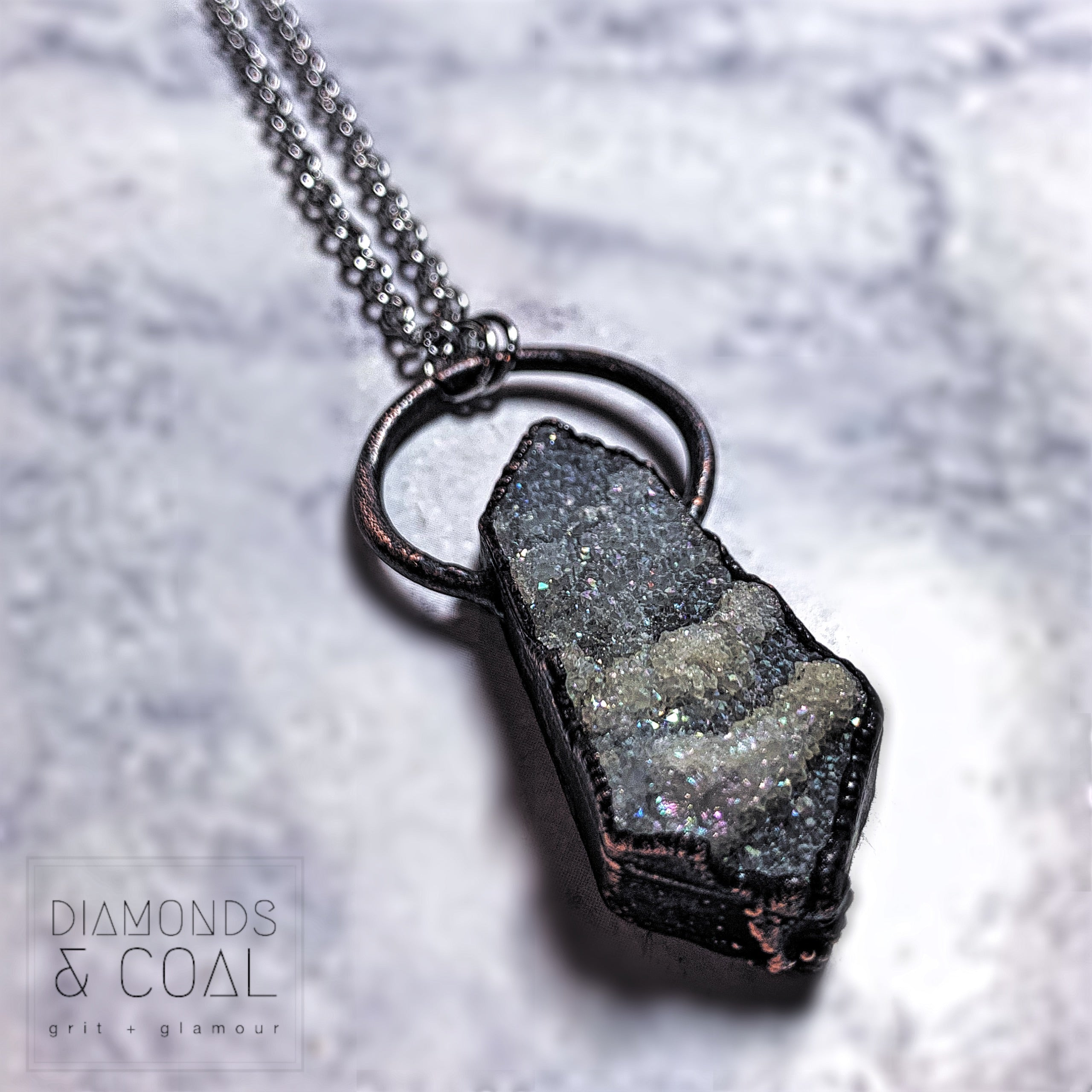 Electroformed Angel Aura Druzy Kite Necklace