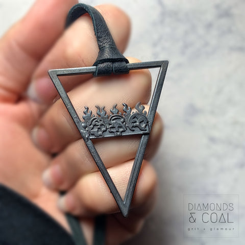 Electroformed Skull Flame Triangle Necklace